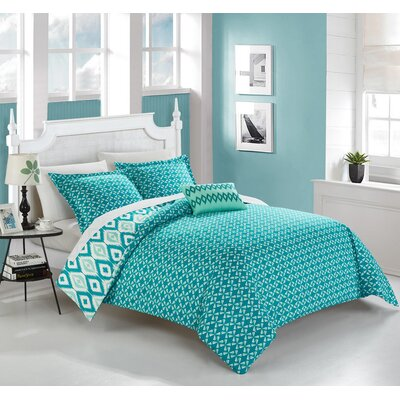 Trang 4 Piece Reversible Duvet Set Color: Aqua, Size: King
