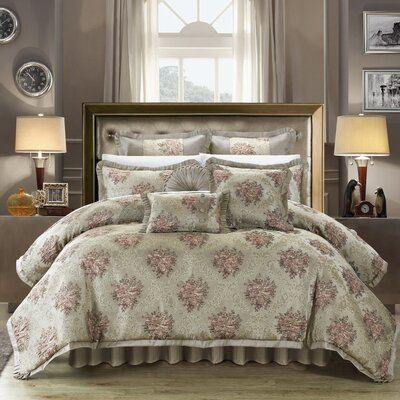 Le Mans 13 Piece Comforter Set Color: Taupe, Size: Queen