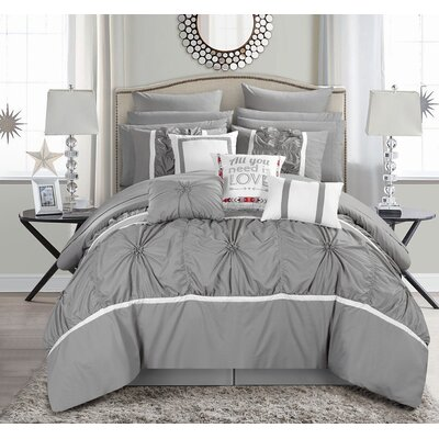 Ashville 16 Piece Bed-In-a-Bag Set Size: King, Color: Gray
