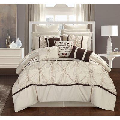 Ashville 16 Piece Bed-In-a-Bag Set Size: King, Color: Ivory/Brown