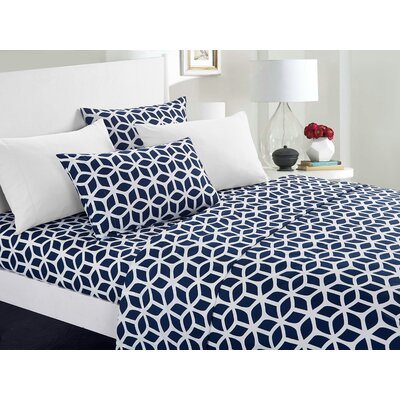 Norfleet Geometric Sheet Set Size: King, Color: Navy