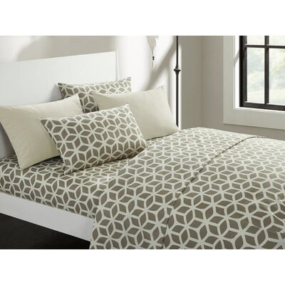 Norfleet Geometric Sheet Set Size: Queen, Color: Taupe