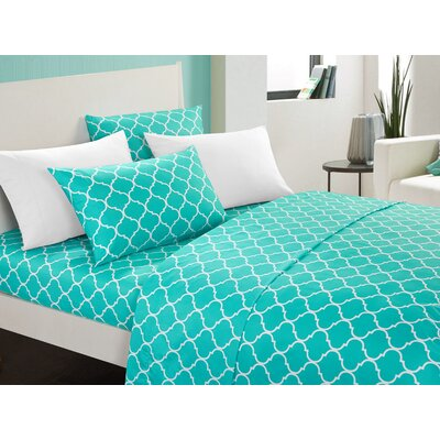 Hargrave Modern Sheet Set Size: King, Color: Turquoise