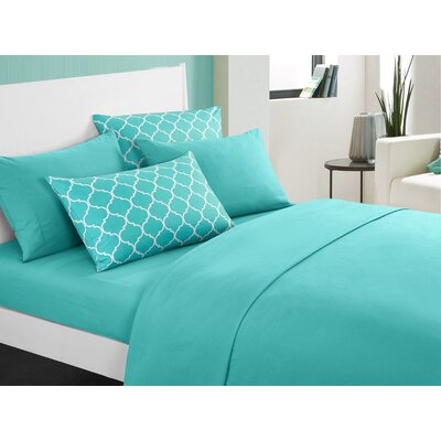 Hargrave Solid Sheet Set Size: King, Color: Turquoise