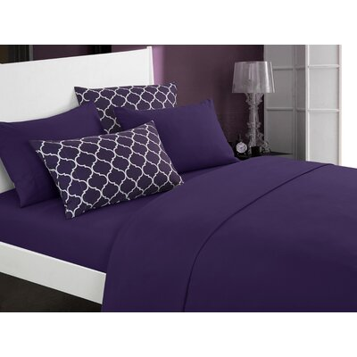 Hargrave Solid Sheet Set Size: Twin, Color: Plum