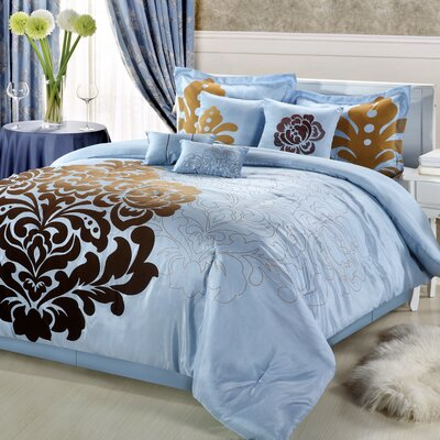 Lakhani 8 Piece Comforter Set Size: Queen, Color: Blue