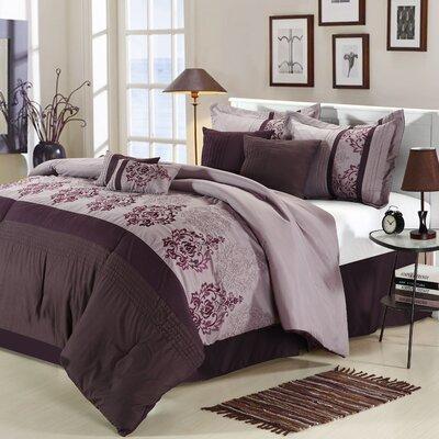 Chic Home Renaissance 8 Piece Comforter Set - Size: Queen, Color: Plum