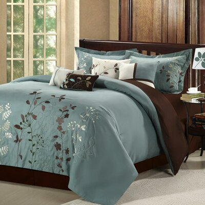 Lovejoy 8 Piece Comforter Set Size: King, Color: Sage