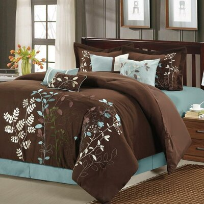 Lovejoy 8 Piece Comforter Set Size: King, Color: Brown