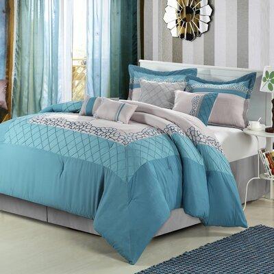 Furniture-Mustang 12 Piece Comforter Set Color Blue, Size King
