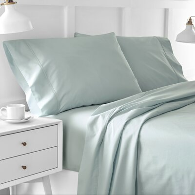 Edgelands 200 Thread 100% Cotton Sheet Set Color: Sterling Blue, Size: Twin