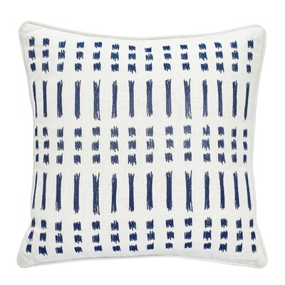 Amalfi Stripe Square Embroidered Cotton Throw Pillow