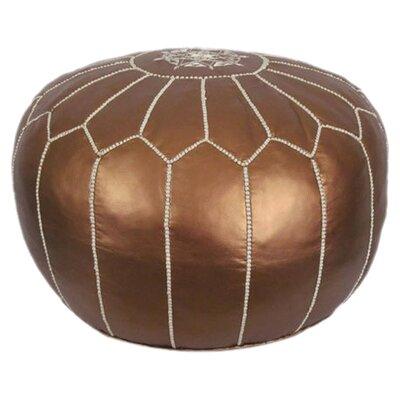 Metallic Moroccan Pouf Ottoman Upholstery: Matte Bronze