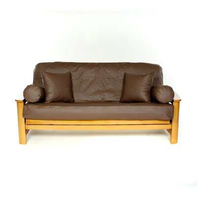 Box Cushion Futon Slipcover Upholstery: Lambskin Brunette