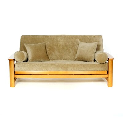 Box Cushion Futon Slipcover Upholstery: Gold Rust