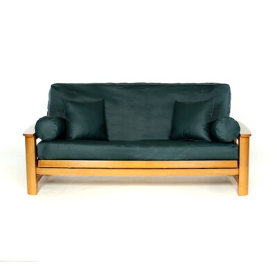 Full Box Cushion Futon Slipcover Upholstery: Emerald
