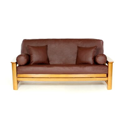 Full Box Cushion Futon Slipcover Upholstery: Maroon