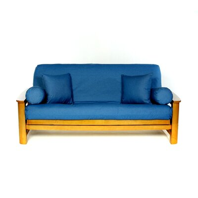 Jean Box Cushion Futon Slipcover Upholstery: Real Denim Light