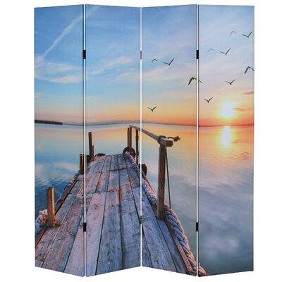 Raumteiler Marlie mit 4 Paneelen | Wohnzimmer > Regale > Raumteiler | Blueyellowgray | Stoff - Holz | Happy Larry