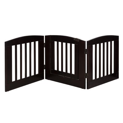 Ruffluv 3 Panel Expansion Dog Gate with Door Size: Medium (24 H x 72 W x 0.75 L), Finish: Cappuccino