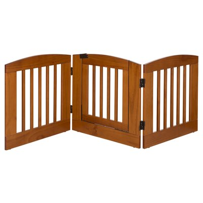 Gale 3 Panel Expansion Dog Gate with Door Size: Medium (24 H x 72 W x 0.75 L), Finish: Chestnut