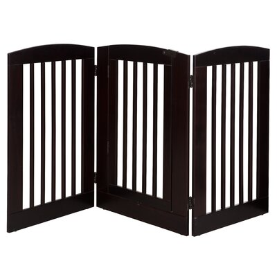 Gale 3 Panel Expansion Dog Gate with Door Size: Large (36 H x 72 W x 0.75 L), Finish: Cappuccino