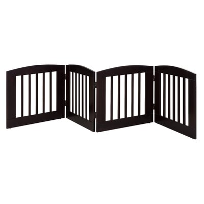 Ruffluv 4 Panel Expansion Dog Gate Size: Medium (24 H x 96 W x 0.75 L), Finish: Cappuccino