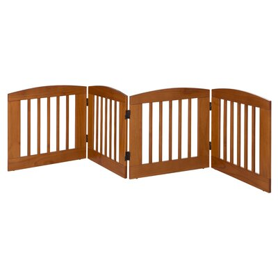 Gale 4 Panel Expansion Dog Gate Size: Medium (24 H x 96 W x 0.75 L), Finish: Chestnut