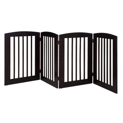 Ruffluv 4 Panel Expansion Dog Gate Size: Large (36 H x 96 W x 0.75 L), Finish: Cappuccino