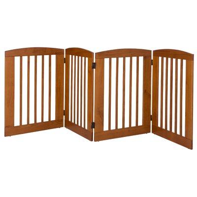 Ruffluv 4 Panel Expansion Dog Gate Size: Large (36 H x 96 W x 0.75 L), Finish: Chestnut