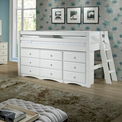 Twin Low Loft Bed with Storage Color: White