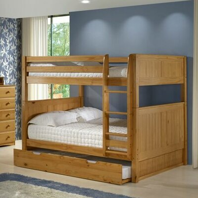 Amani Traditional Full Over Full Bunk Bed with Trundle Finish: Natural
