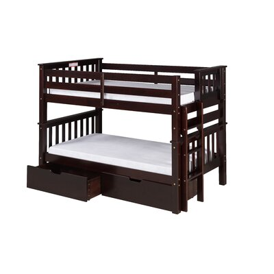 Santa Fe Mission Twin over Twin Bunk Bed with Storage Color: Cappuccino