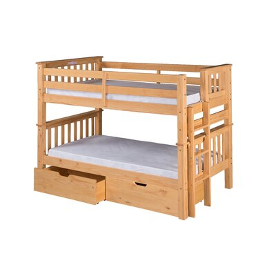 Santa Fe Mission Twin over Twin Bunk Bed with Storage Color: Natural