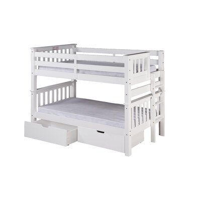 Santa Fe Mission Twin Bunk Bed with Storage Finish: White