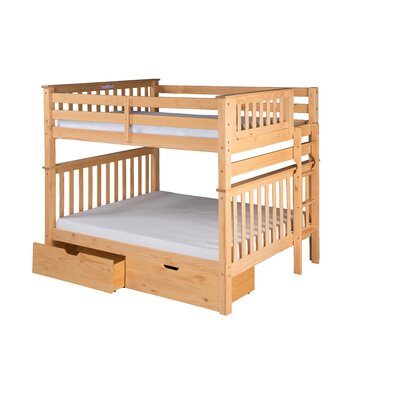 Santa Fe Mission Tall Bunk Bed with Storage Size: Twin Over Full, Color: Natural