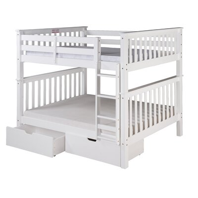Santa Fe Mission Bunk Bed with Storage Size: Full Over Full, Finish: White