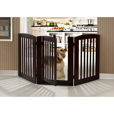 Ruffluv 3 Panel Expansion Dog Gate with Door Size: Large (36 H x 72 W x 0.75 L), Finish: Grey