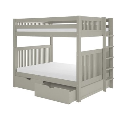 Full Over Full Bunk Bed with Drawers Color: Gray