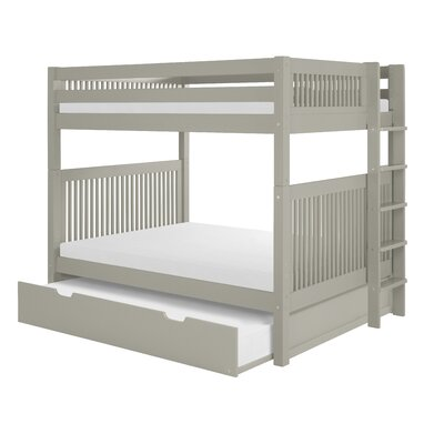 Full Over Full Bunk Bed with Trundle Color: Gray