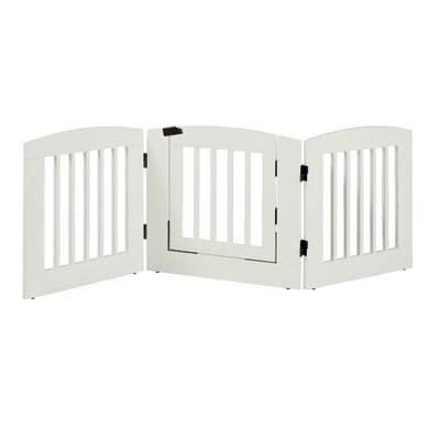 Gale 3 Panel Expansion Dog Gate with Door Size: Medium (24 H x 72 W x 0.75 L), Finish: White