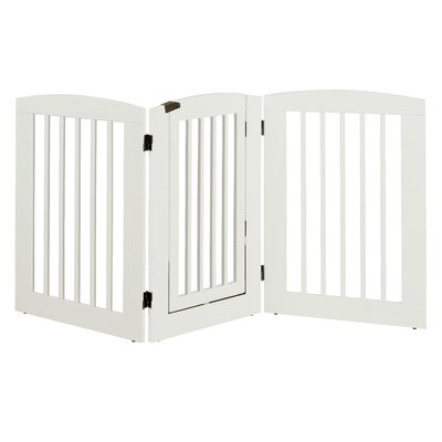 Ruffluv 3 Panel Expansion Dog Gate with Door Size: Large (36 H x 72 W x 0.75 L), Finish: White
