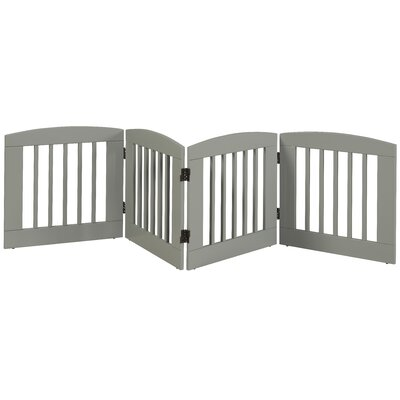 Ruffluv 4 Panel Expansion Dog Gate Size: Medium (24 H x 96 W x 0.75 L), Finish: White