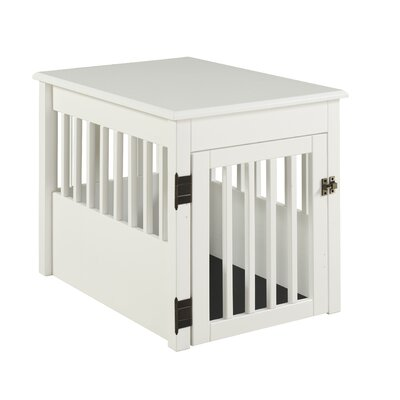 Ruffluv Pet Crate Size: 28 H x 24 W x 36 D, Color: White