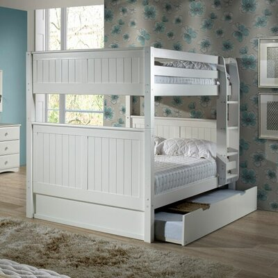 Amani Traditional Full Over Full Bunk Bed with Trundle Finish: White