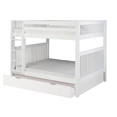Delaware Full Over Full Bunk Bed with Twin Trundle Mission Headboard Color: White