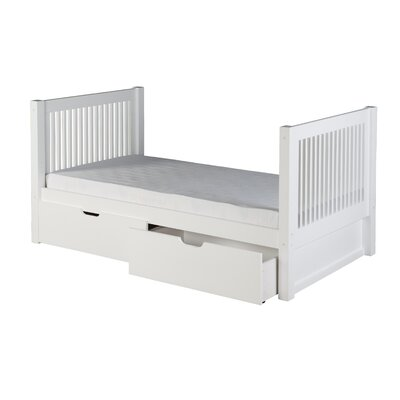 Digennaro Twin Platform Bed with Drawer Finish: White
