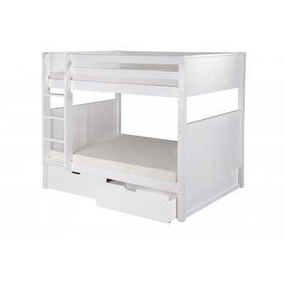 Full Over Full Bunk Bed with Drawers Color: White
