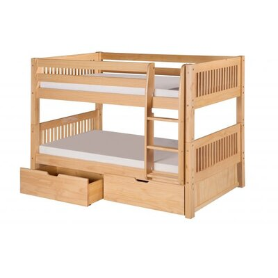 Full Over Full Bunk Bed with Drawers Color: Natural