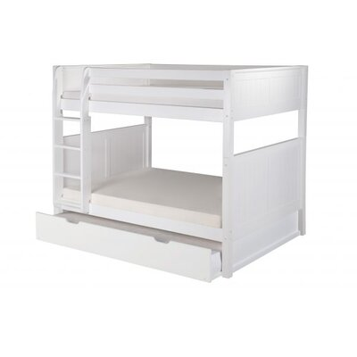 Full Over Full Bunk Bed with Trundle Color: White